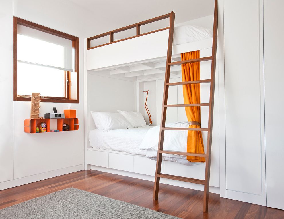 What Size is a Queen Bed with Industrial Kids  and Bunk Bunk Beds Bunk Room Gray Area Rug Hermes Orange Ladder Modern Reading Lamp Niche Orange Curtain Orange Shelf Queen White White Room Wood Wood Trim