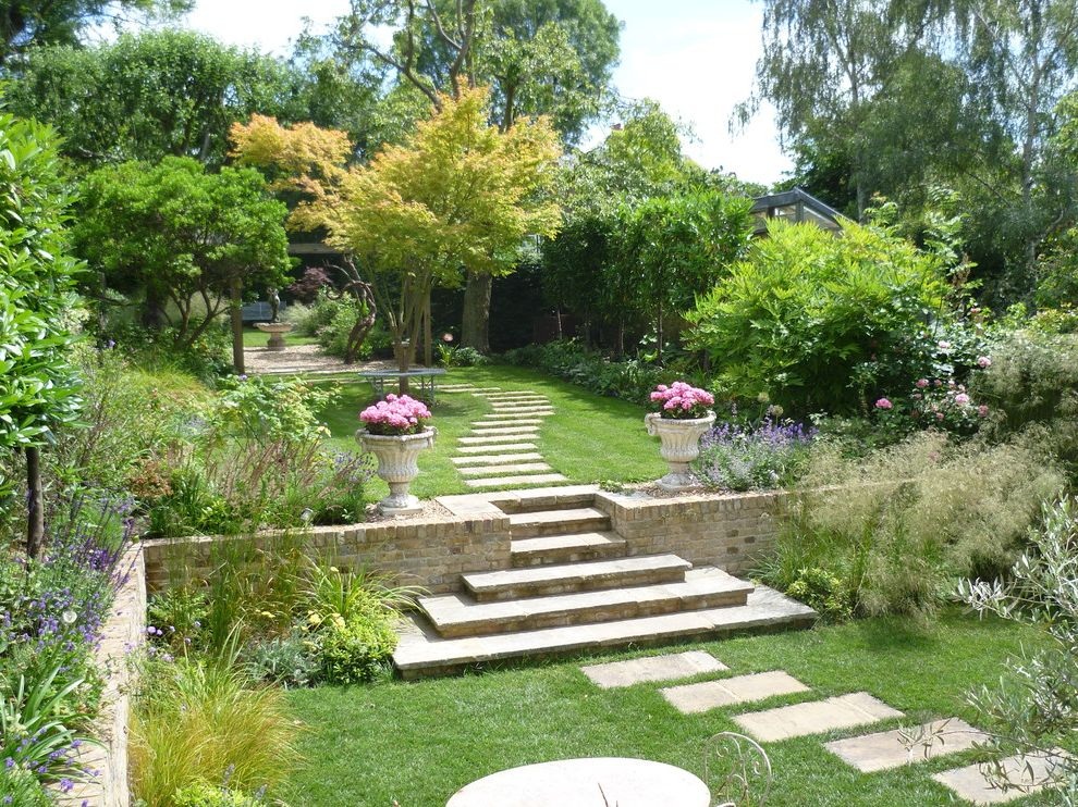 Where to Buy Stepping Stones with Traditional Landscape Also Beautiful Garden Brick Wall Flower Pots Flowerbeds Garden Garden Steps Garden Trees Pathway Stepping Stones Stone Flower Pot Stone Planter Stone Steps Trees Walkway