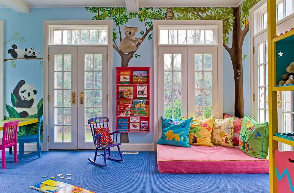 Where to Dump Mattress   Traditional Kids  and Blue Carpet Blue Walls Bookshelves Colorful French Doors Kids Furniture Playroom Transom Window Wall Mural White Trim