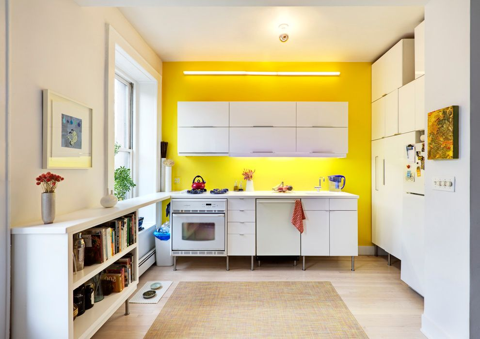 Which Way is Horizontal   Contemporary Kitchen Also Bright Yellow Accent Wall Kitchen Primary Color White Cabinet Yellow