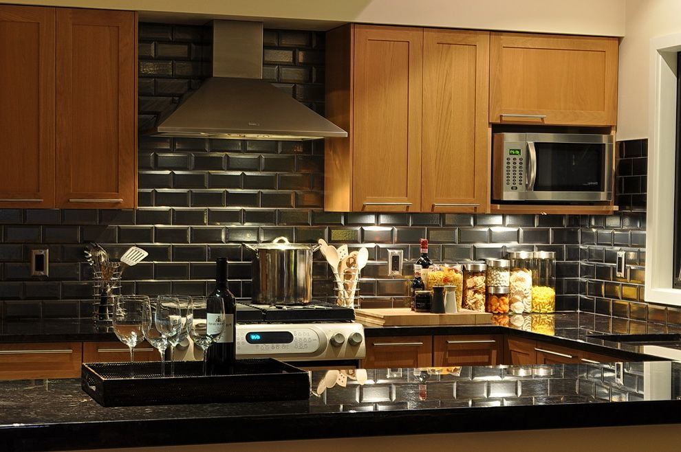 Which Way is Horizontal   Contemporary Kitchen Also Canister Set Kitchen Hardware Pillow Tiles Range Hood Serving Tray Shaker Style Subway Tiles Tile Backsplash Under Cabinet Lighting Wood Cabinets