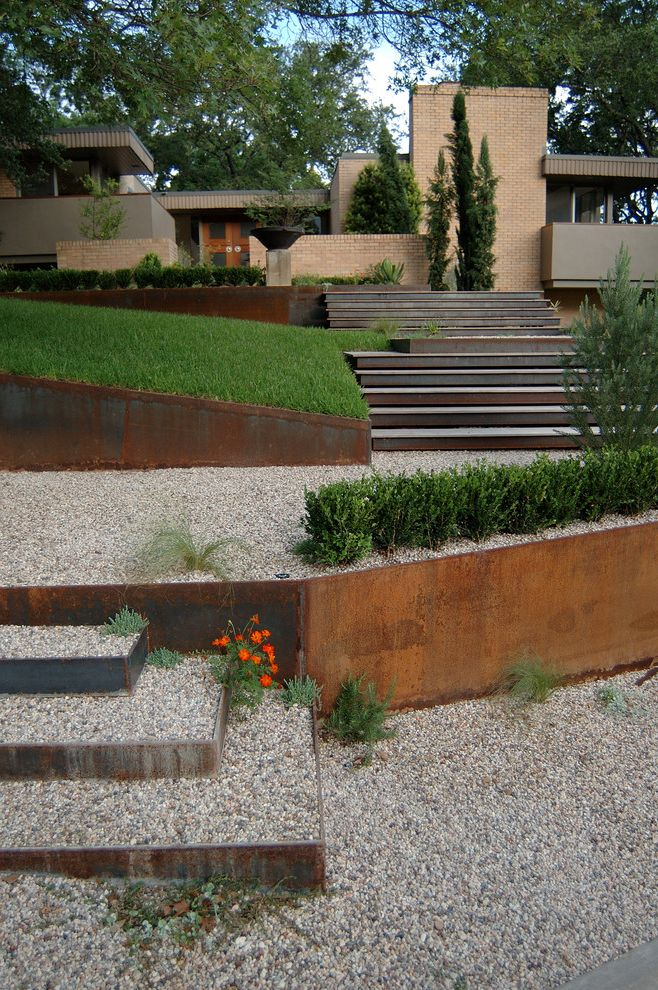 Which Way is Horizontal   Contemporary Landscape Also Cor Ten Steel Entry Gravel Horizontal Prairie Style Regional Modern Retaining Wall Steel Stairs Tan Brick Texas Modern Wood Doors