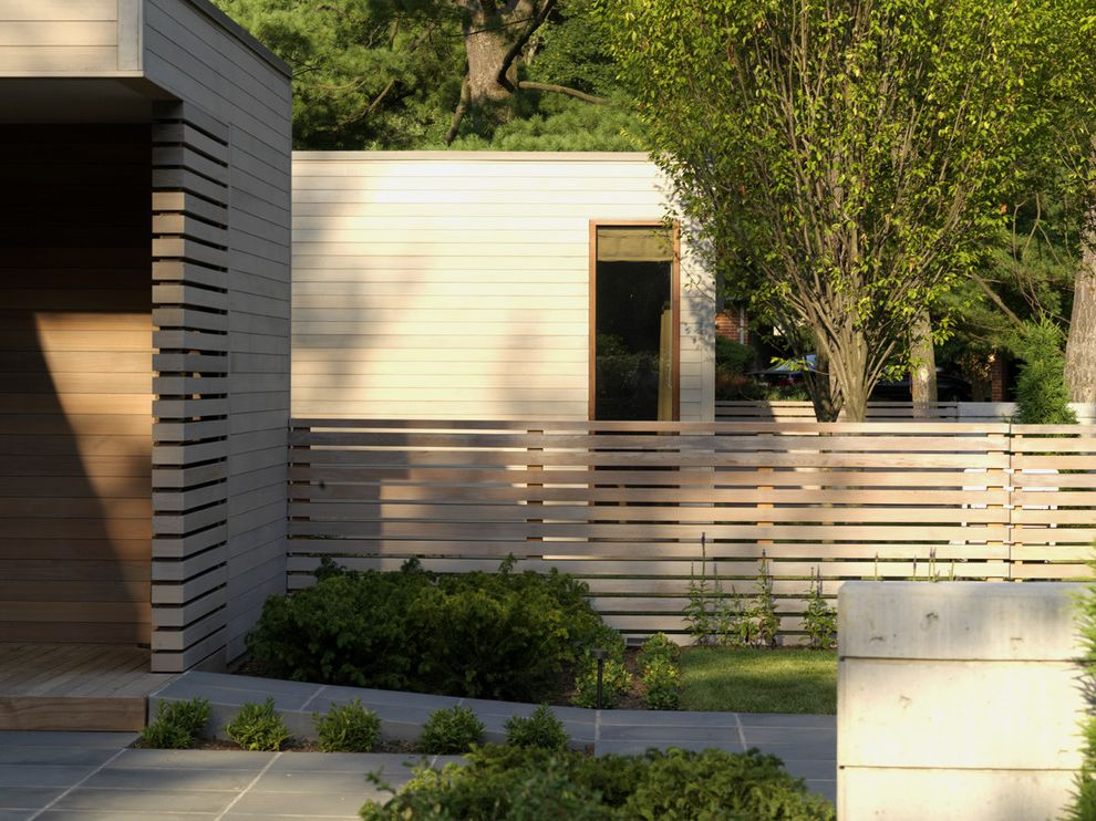 Which Way is Horizontal   Contemporary Landscape  and Entrance Entry Flat Roof Horizontal Slat Fence Path Roof Line Tile Paving Walkway Wood Fencing Wood Siding