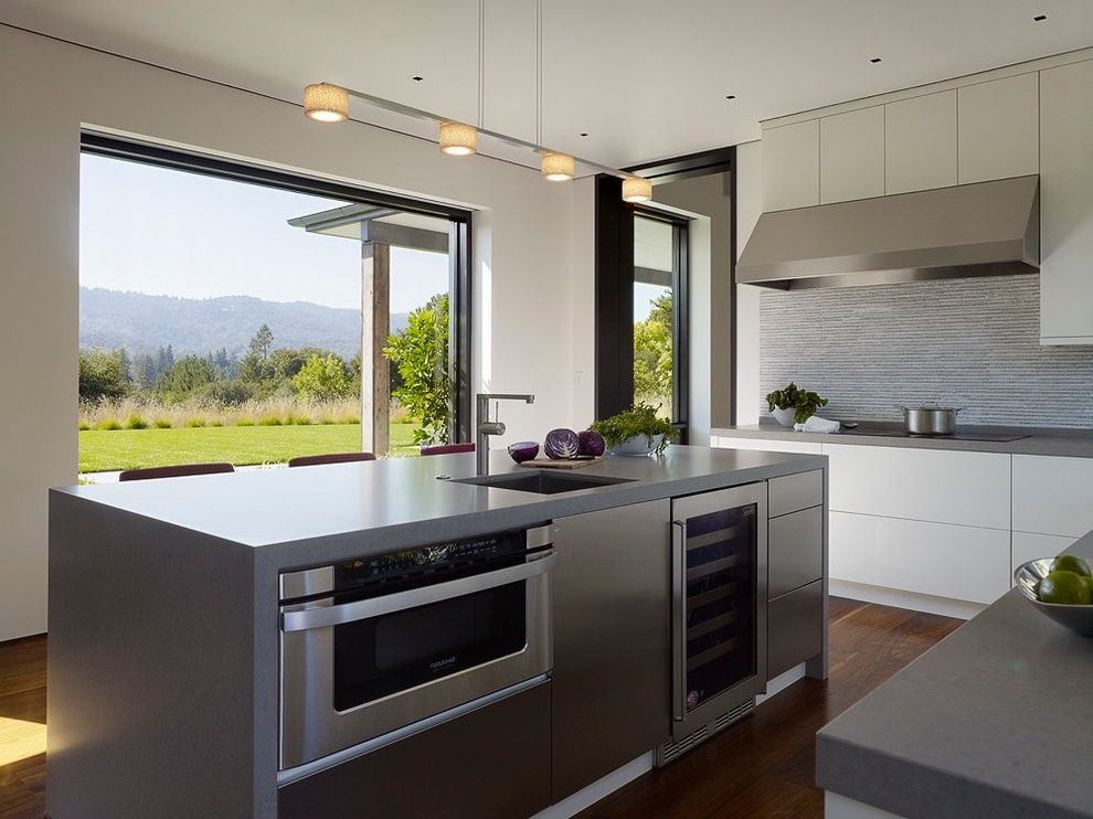 Whirlpool Otr Microwave   Contemporary Kitchen Also Chic Elegant Indoor Outdoor Island Light Fixture Kitchen Open to Backyard Microwave in Island Sophisticated White Kitchen Wine Fridge in Island Woodmode Cabinets