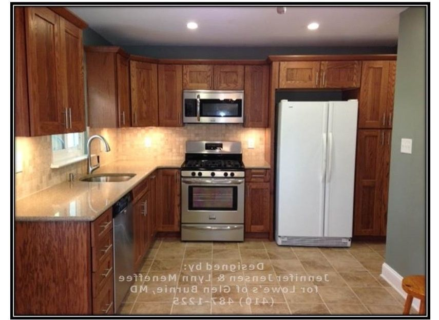 Whirlpool Otr Microwave with Transitional Spaces Also Backsplash Before and After Kitchen Honey and Teal Kitchen Kitchen Ideas Kitchen Remodel Lowes Kitchen Quartz Countertop Shenandoah Cabinets Transitional Kitchen Valspar Paint
