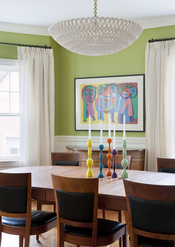Whiskers Paint Color with Eclectic Dining Room Also Candlesticks Ceiling Light Color Colorful Dining Chair Dining Table Green Paint Green Wall Playful Wainscoting Window Treatment Wood Floor Wood Table