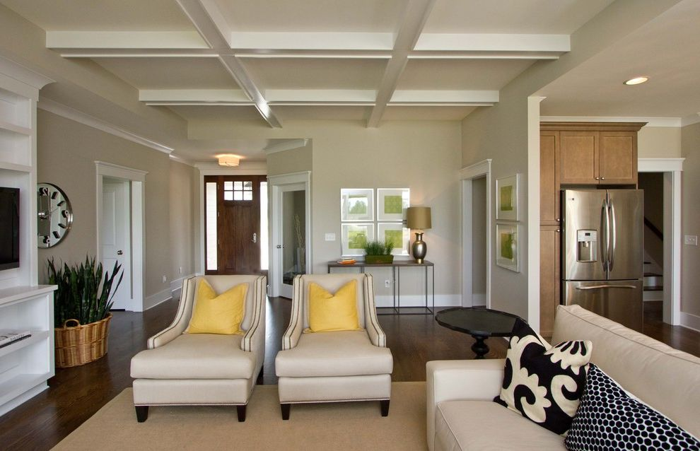 Whiskers Paint Color with Traditional Living Room  and Built in Coffered Ceiling Entry Front Door Pillows Stainless Wall Clock Yellow Accent