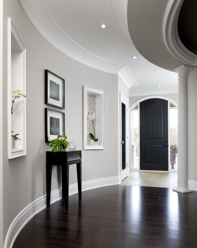 Whiskers Paint Color with Transitional Hall Also Baseboards Ceiling Lighting Ceilings Columns Crown Molding Curved Walls Decorative Columns Decorative Molding Gray Walls Niche Orchid Painted Ceilings Recessed Lighting Wall Niche White Wood Wood Trim