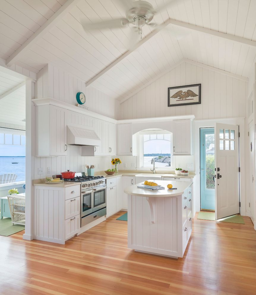 White Eagle Septic   Beach Style Kitchen Also Beach Cottage Beige Countertop Ceiling Fan Custom Kitchen High Ceiling Seaside Kitchen White Painted Wood Walls