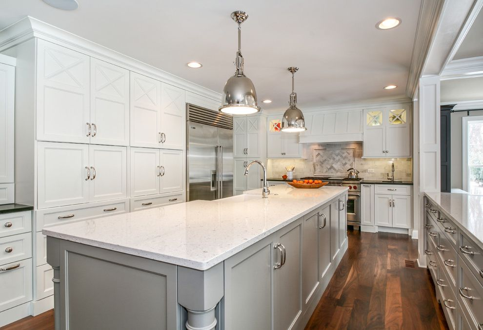 White Eagle Septic   Traditional Kitchen Also Kitchen Island Pendant Lights Prep Sink Recessed Lighting White Countertop