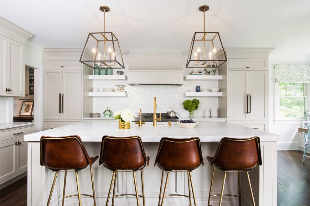 White Leather Bar Chairs   Transitional Kitchen  and Beige Classic Counter Stools Full Wall Backsplash Lanterns Neutral Off White Open Shelves Pendant Lights Vent Hood