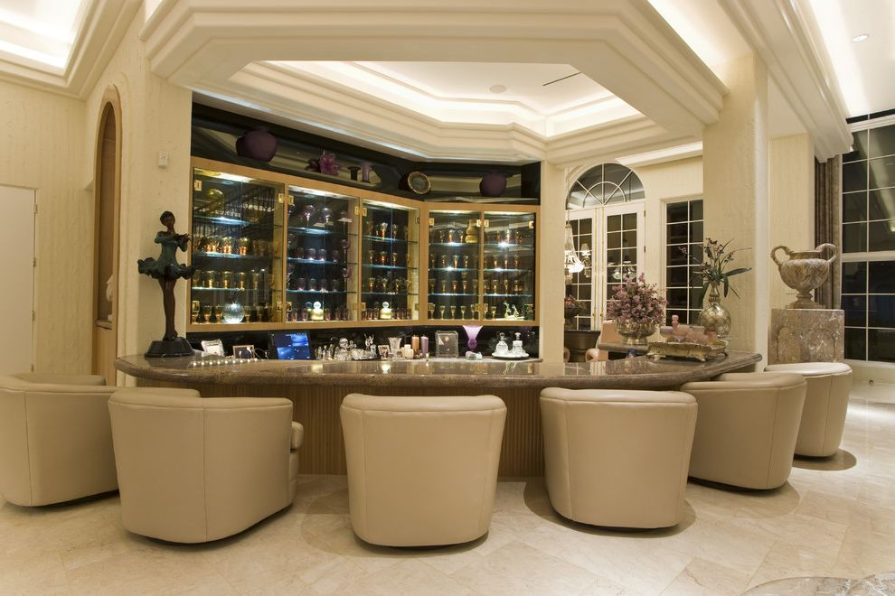 White Leather Bar Chairs with Traditional Home Bar  and Bar Bravura Modern Curved Chairs Leather Chairs Molding Moulding Urn