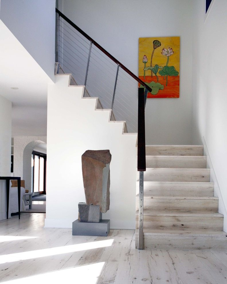 White Wash Wood Floors   Contemporary Staircase  and Floral Painting Light Wood Metal Banister Metal Handrail Metal Railing Modern Green Design Rock Sculpture Wood Flooring Wood Stairs