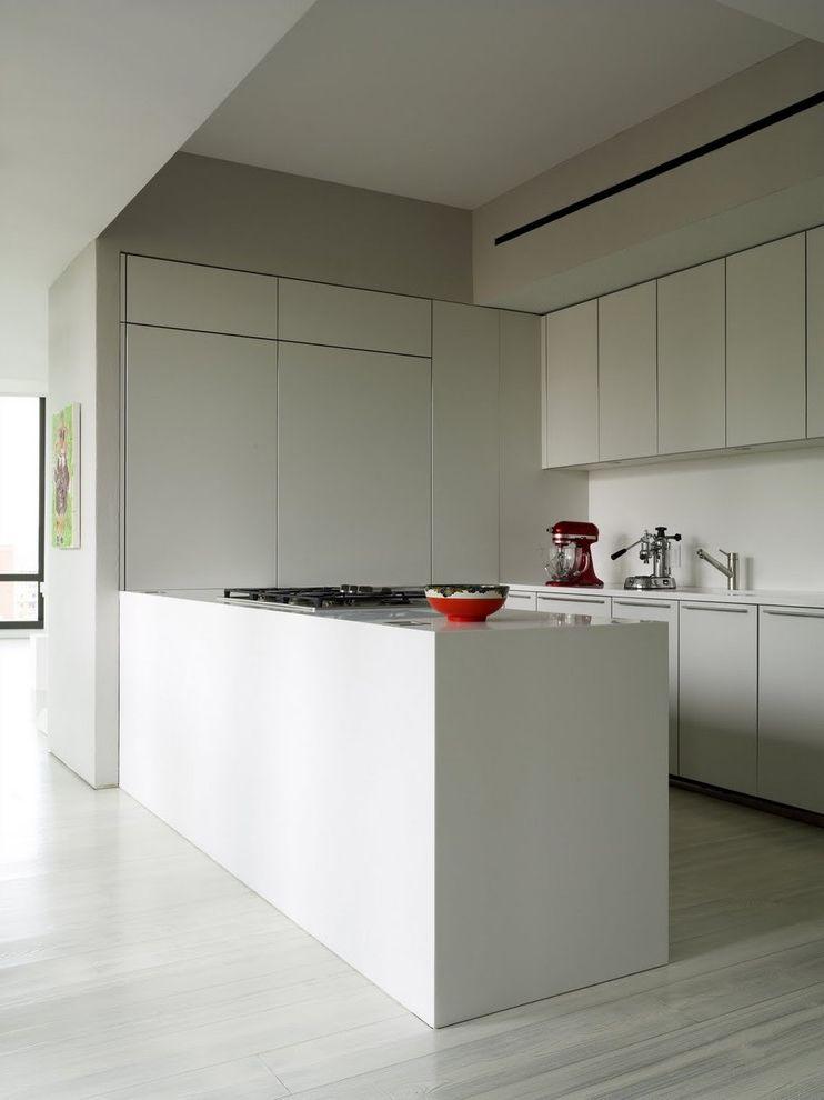 White Wash Wood Floors   Modern Kitchen Also Gray Wood Floor Kitchen Minimal Mixer Red Accents White White Cabinets White Wood Floor
