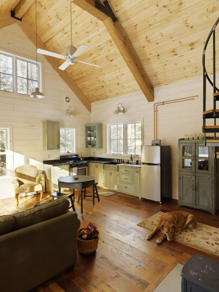 White Wash Wood Floors   Rustic Family Room Also Armchair Ceiling Fan Kitchen Painted Wood Wall Pine Rustic Rustic Kitchen Rustic Wood Floor Spiral Staircase Vaulted Ceiling Wood Ceiling Wood Floor Wood Wall