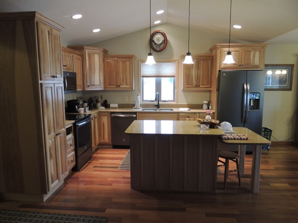 White Wash Wood Floors with Traditional Kitchen  and Traditional