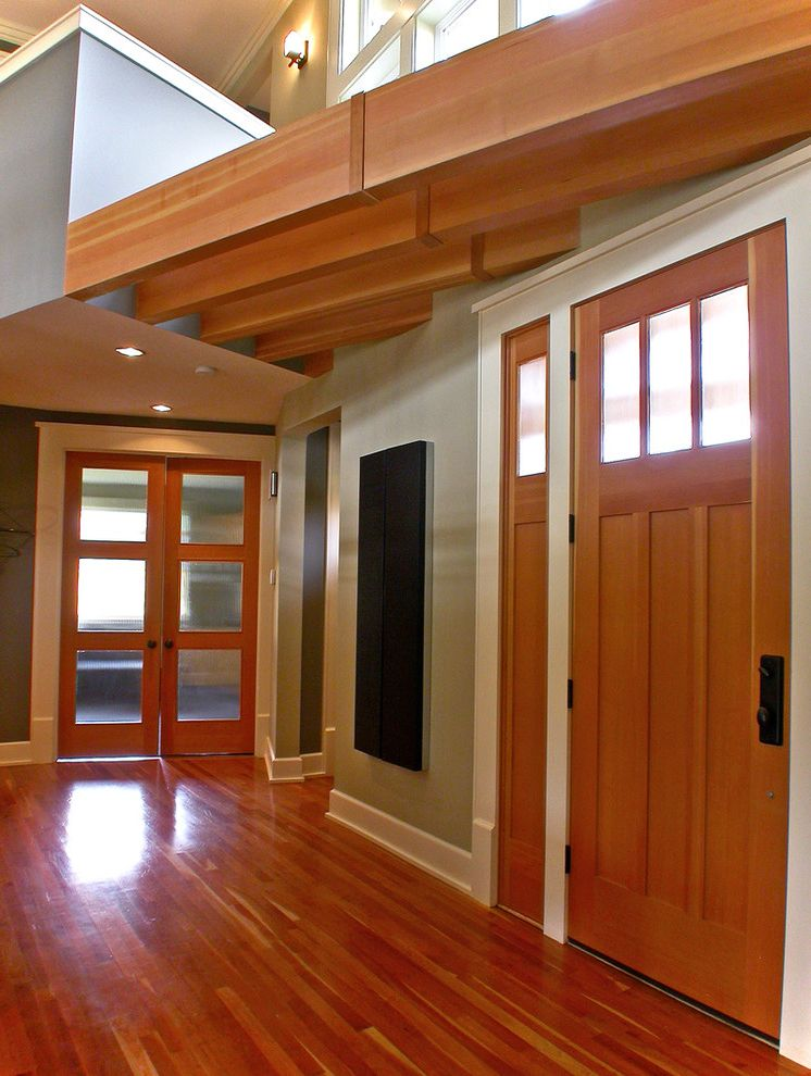 Whites Lumber with Contemporary Entry Also Architectural Detail Entry French Doors Glass Doors Gray Recessed Lights Specialty Glass Wall Sconce White Trim Wood Floor