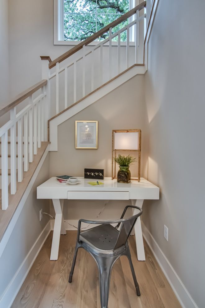 Whitewash Hardwood Floors   Beach Style Home Office Also Contemporary Desk Under Staircase Godfrey Hardwood Hardwood Flooring Metal Chair Modern Office Nook Tile U Shape Staircase Updated White Desk Whitewashed Hardwood Floor Writing Desk