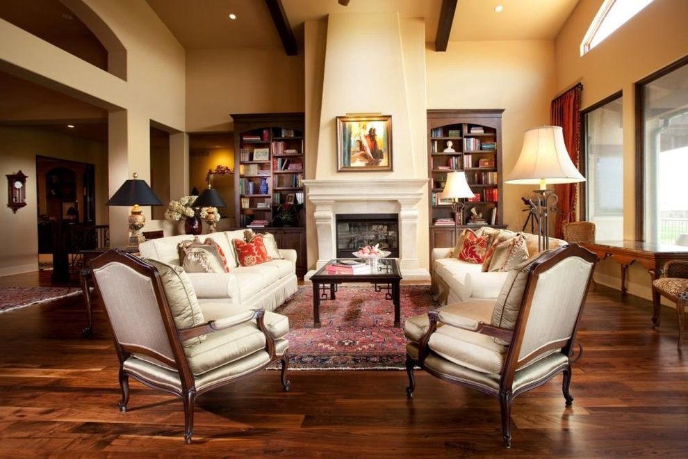 Whitewash Hardwood Floors   Traditional Living Room  and Beams Bookshelves Dark Wood Trim Fireplace Fringe Hardwood Floors Mantle Symmetry Vaulted Ceiling