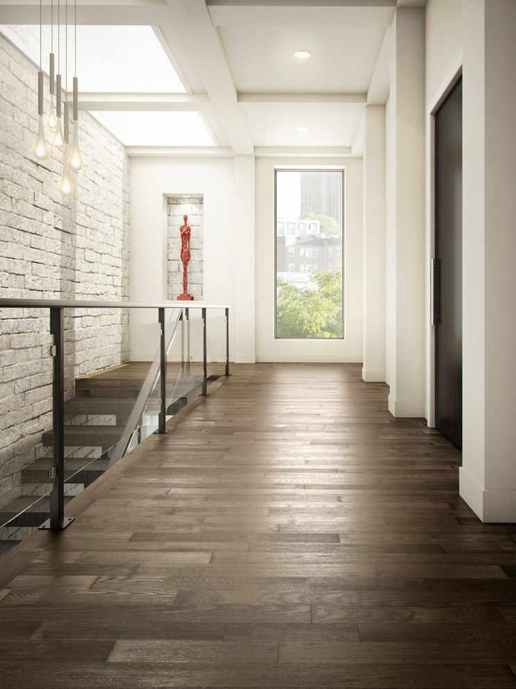 Whitewash Hardwood Floors with Contemporary Hall  and Art Niche Ash Flooring Hardwood Flooring Open Riser Stairs Pendant Lighting Railing Skylights Stone Wall White Wall Window