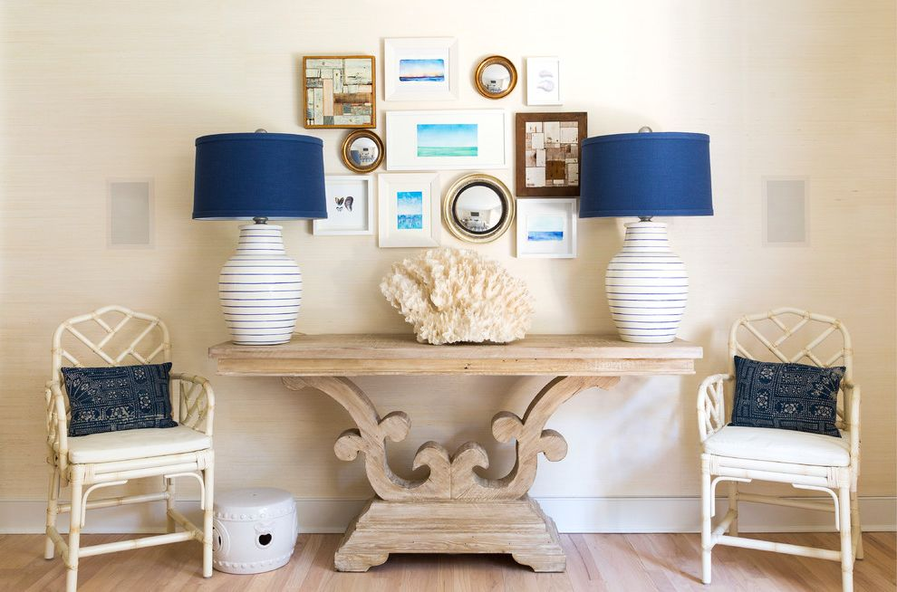 Whitewashed Console Table   Beach Style Hall Also Accent Pillows Armchairs Ceramic Garden Stool Console Table Coral Gallery Wall Navy Blue Table Lamps Wall Art