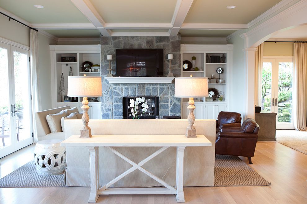 Whitewashed Console Table with Traditional Family Room Also Box Beams Coffee Table Coffered Ceiling Curtains Fireplace Leather Chair Leather Club Chair Light Sofa Light Wood Floor Sisal Area Rug Sofa Table Stone Fireplace White Sofa Wood Floor