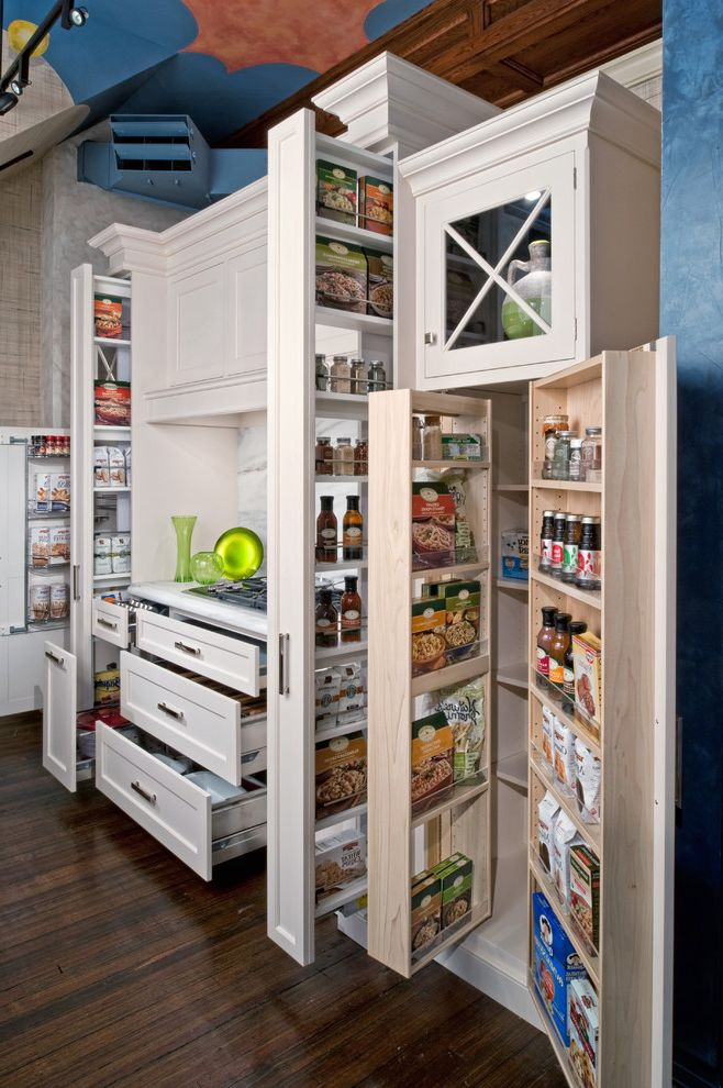Whole Foods Fremont   Traditional Kitchen  and Cooktop Dark Wood Floor Food Organization Food Storage Glass Cabinet Kitchen Organization Kitchen Storage Pantry Pull Out Cabinets Pull Out Pantry Rutt Spice Drawer Spice Rack White Cabinets White Drawers