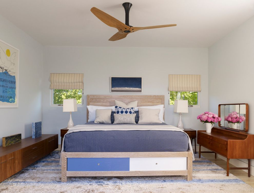 Whole House Fan Lowes   Contemporary Bedroom  and Bedroom Beige and Blue Rug Blue and Beige Bedroom High Pile Rug Light Wood Headboard Master Bedroom Modern Modern Commode Modern Fan Three Blade Ceiling Fan