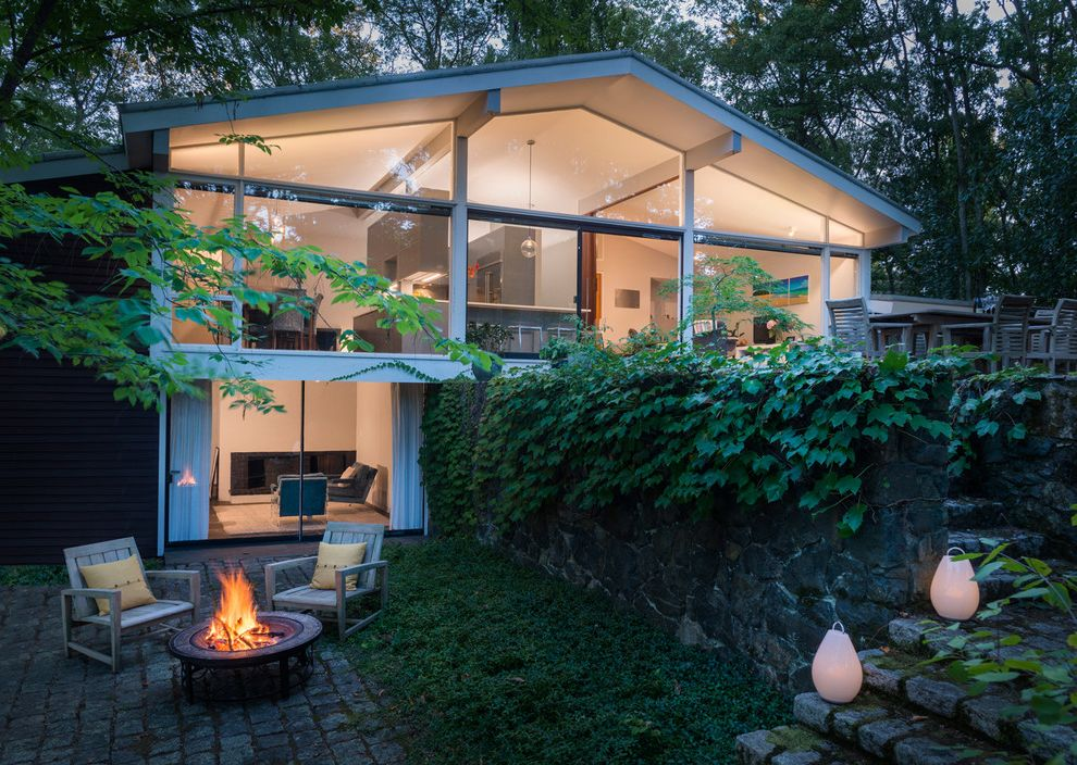 Whole House Fan Lowes   Midcentury Exterior  and Exposed Beams Fire Pit Glass Wall Ivy Large Glass Windows Mid Century Modern Stairway Lights Stone Patio Stone Wall