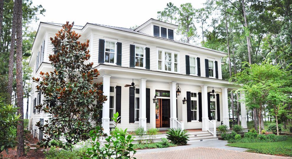 Whole House Fan Lowes   Traditional Exterior  and Black Shutters Brick Driveway Ceiling Fans Columns Curb Appeal Dormer Front Porch Lantern Lowcountry Architecture Magnolia Tree Palmetto Bluff Shingles Shrubs Shutters Siding Transom White House Wood Door