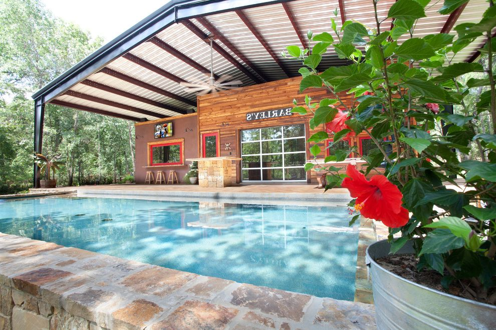 Whole House Fan Lowes with Rustic Pool  and Barn Big Ass Fan Corten Covered Patio Creosote Glass Garage Door Hibiscus Outdoor Living Overhang Pella Pool Coping Potted Plants Red Door Red Windows Salt Water Pool Steel Steel Canopy