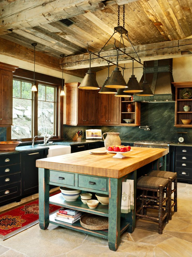 Wichita Ks Theater   Farmhouse Kitchen  and Black Cabinets Chopping Block Countertop Green Backsplash Pendant Lighting Rustic Barstools Rustic Ceiling Rustic Kitchen Teal Cabinets