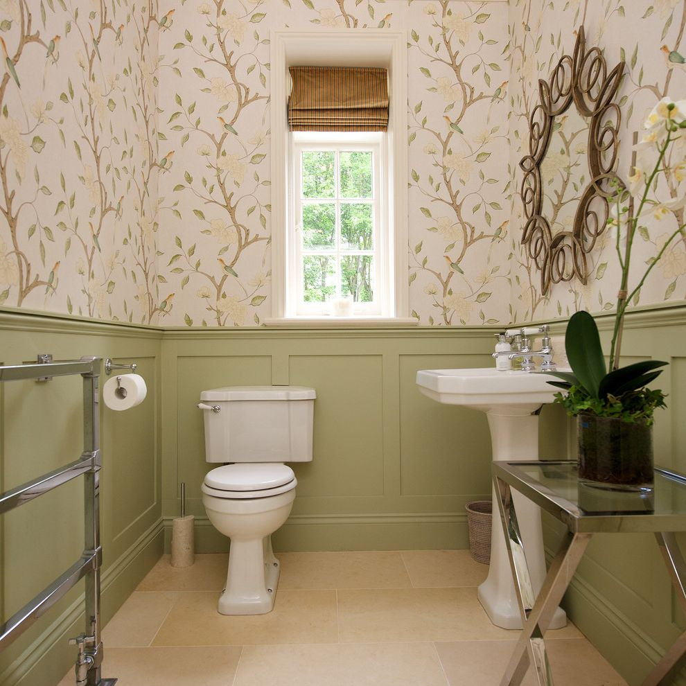 Wichita Ks Theater   Traditional Powder Room  and Bathroom Mirror Cloakroom Cloakroom Decor Floral Wallpaper Green Bathroom Pedestal Sink Side Table Striped Roman Blind Wall Panelling