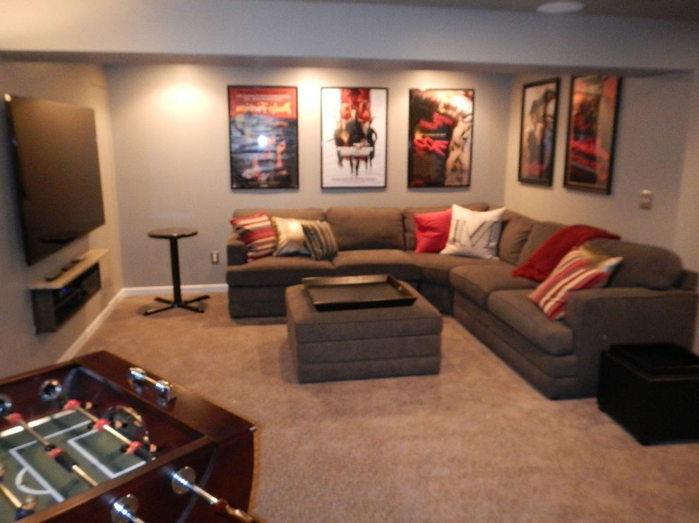 Wichita Ks Theater with Contemporary Spaces  and Basement Bar Home Theatre