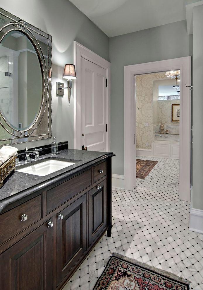 Wickmans Furniture   Traditional Bathroom  and Countertop Drawer Pulls Floor Rug Lyptus Marble Floor Mirror Framed Quartz Sconces Traditional Vanity Transitional Bathroom Vanity Vanity Lighting