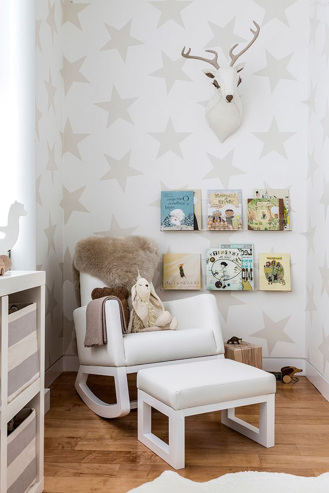 Wide Rocker Recliner with Contemporary Nursery Also Area Rug Book Ledges Deer Head Floating Shelves Fur Monte Rocker Nursery Star Wallpaper Throw Toy Storage Toys