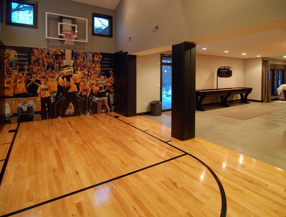 Width of a Basketball Court   Modern Home Gym Also Basketball Court Clerestory Windows Dark Painted Trim Gray Hoop Interior Sport Court Mural Natural Wood Scoreboard Wood Floor