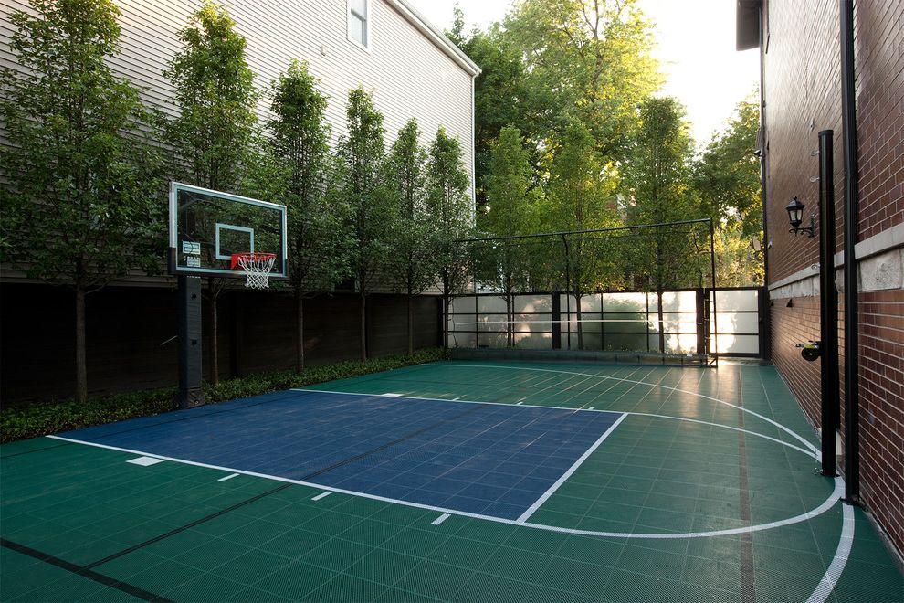 Width of a Basketball Court   Traditional Landscape  and Basketball Court Basketball Hoop Brick Siding Courtyard Fence Sport Court Urban Landscape Design