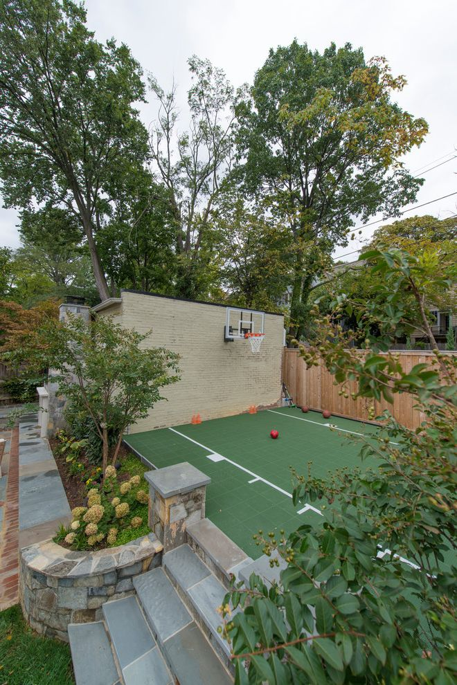 Width of a Basketball Court with Traditional Landscape Also Brick Wall Hydrangeas Indoor Outdoor Liging Patio Stone Steps Stone Wall Wood Fence