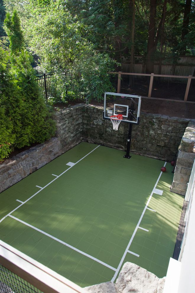 Width of a Basketball Court with Traditional Landscape  and Basketball Court Basketball Hoop Basketball Net Basketball Standard Foul Line Half Court Outdoor Basketball Court Outdoor Sport Court Sport Court Stone Wall