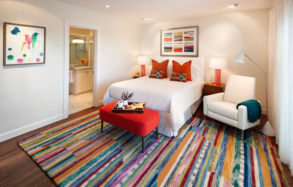 Width of a Full Size Bed   Traditional Bedroom Also Colorful Colorful Artwork Colorful Rug Comfort en Suite Guest Room Orange Lamp Red Bench Retreat Striped Area Rug Table Lamp White Bedding White Recliner White with Color