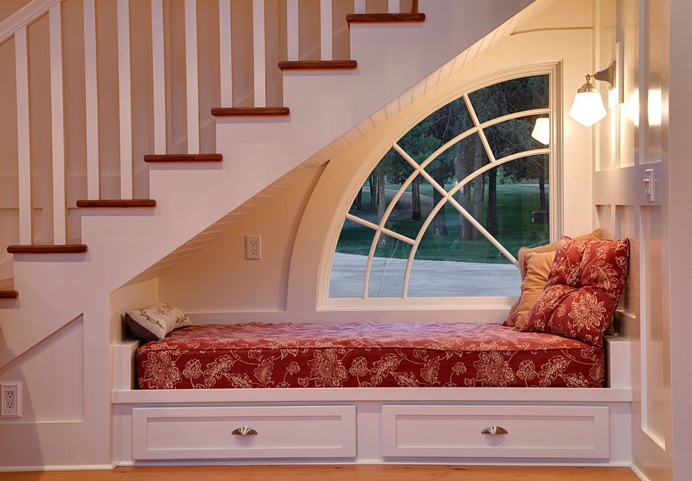 Width of a Full Size Bed   Traditional Staircase Also Accent Window Built in Bench Daybed Nook Railing Sconces Wainscoting Wall Mounted Light Window Wood Railing