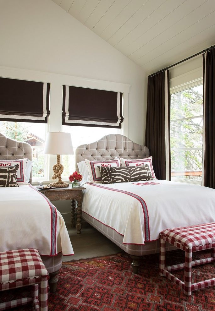 Width of a Full Size Bed with Transitional Bedroom  and Bedroom Bench Double Beds Gingham Patterns Prints Roman Shades Rope Table Lamp Rug Sloped Ceilings Table Lamp Tufted Headboard Twin Beds Two Beds Upholstered Bed White Panel Ceiling