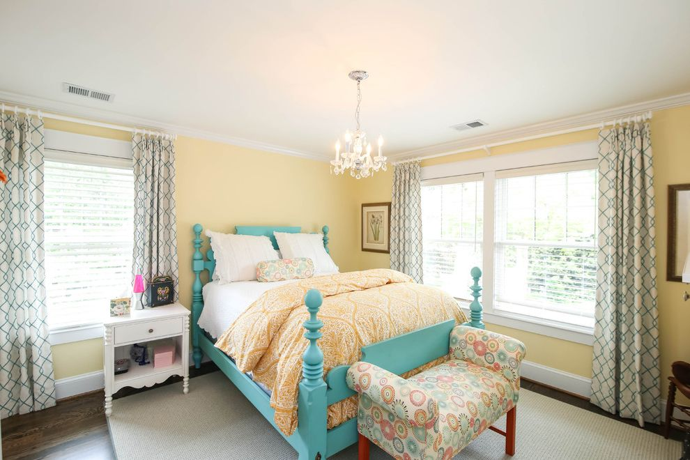 Width of King Size Bed with Traditional Bedroom  and Double Hung Windows Turquoise Bed Yellow Bedspread