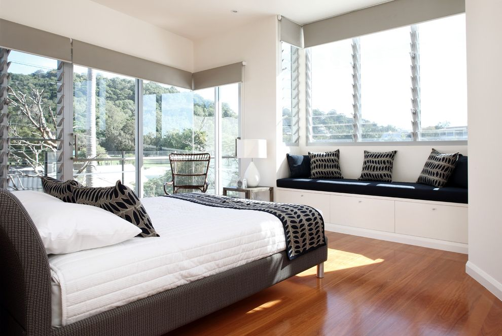 Window Blind Types with Contemporary Bedroom  and Gray Accents Gray Cornice Board Jalousie Windows Platform Bed