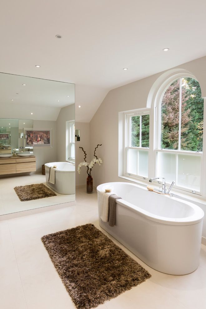 Window Film Lowes with Transitional Bathroom Also Arch Window Brown Bath Mat Cream Bathroom Flowers Frosted Glass Large Bathroom Mirror Spa Like Towels Vase