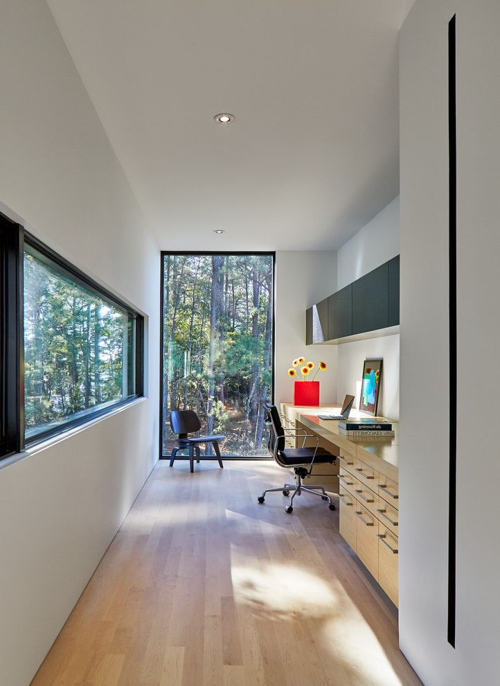 Window Replacement Fort Worth   Contemporary Home Office Also Black Accent Chair Black Window Trim Built in Desk Floor to Ceiling Window Flowers Hanging Cabinets Leather Office Chair Light Cabinets Light Wood Floor Recessed Lights Roller White Walls