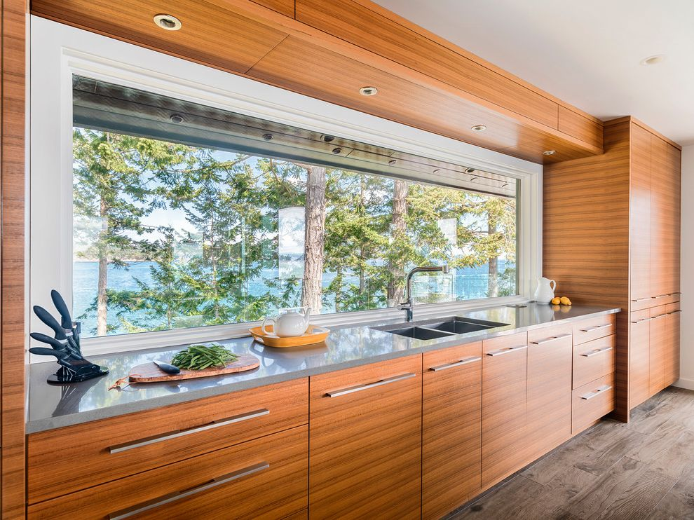 Window Replacement Fort Worth with Beach Style Kitchen  and Gray Countertop Long Window Picture Window Recessed Lighting Soffit Waterfront