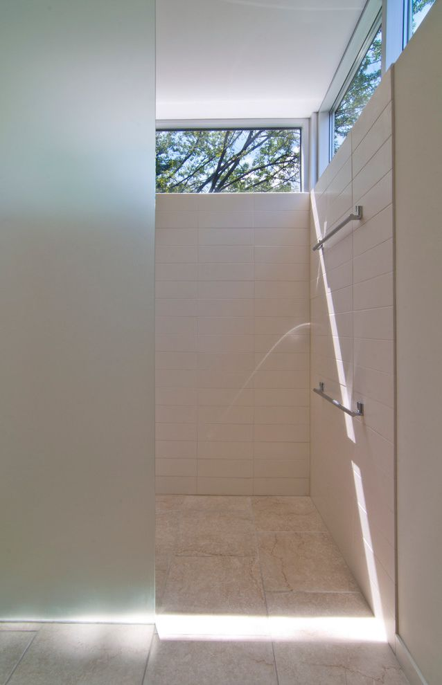 Window Replacement Fort Worth with Modern Bathroom Also Aluminum Windows Clerestory Windows Curbless Shower Frosted Glass Glass Minimal Shower Shower Enclosure Tile Floor Towel Bar White