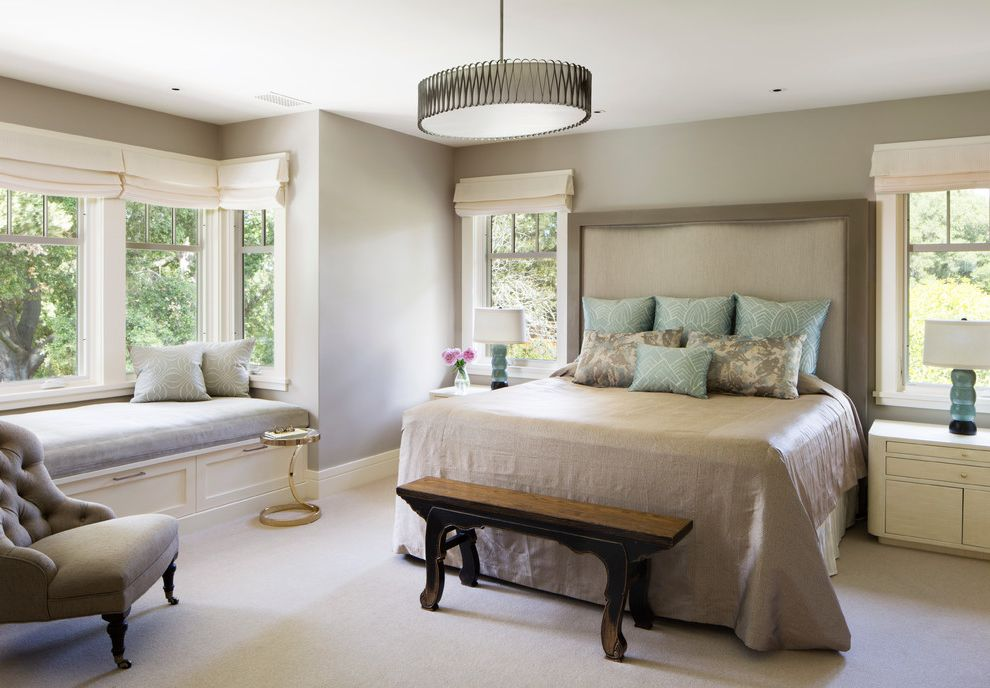 Window Replacement Fort Worth with Traditional Bedroom Also Drum Pendant Light Tall Headboard White Carpet White Roman Shades Window Seat